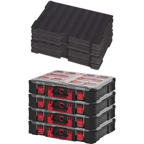 MILWAUKEE PACKOUT 4 Organizers 10 Thick Boxes - 2 Customizable Inserts