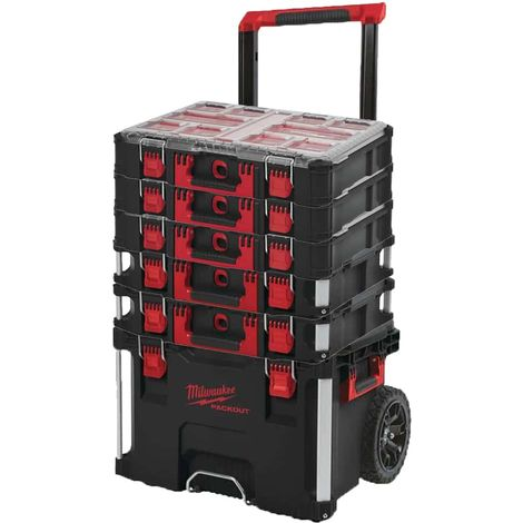 MILWAUKEE PACKOUT Trolley Carry Case - 2 Carry Cases 40L Size 2 - 3 Organizers 10 thick lockers