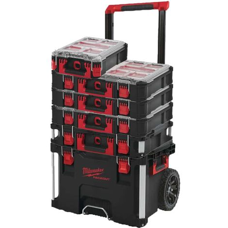 MILWAUKEE PACKOUT Trolley Carry Case - Carry Case 40L Size 2 - 3 Organizers 10 thick lockers - Organizer 5 lockers