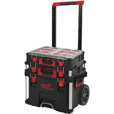 MILWAUKEE PACKOUT Trolley Carry Case - Carry Case 40L Size 2 - Organizer 10 thick lockers