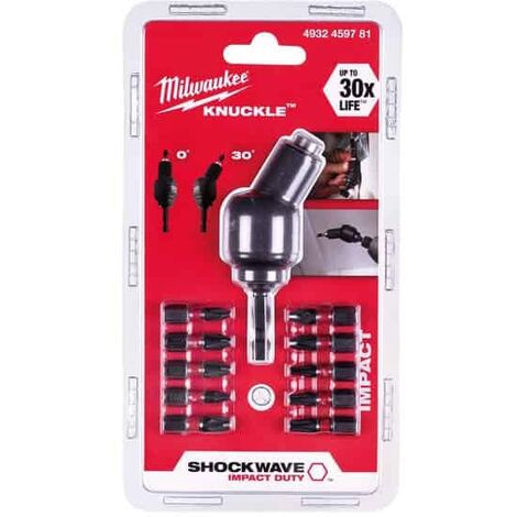 MILWAUKEE Renvoi d'angle cardan + 10 embouts vissage - 4932459781