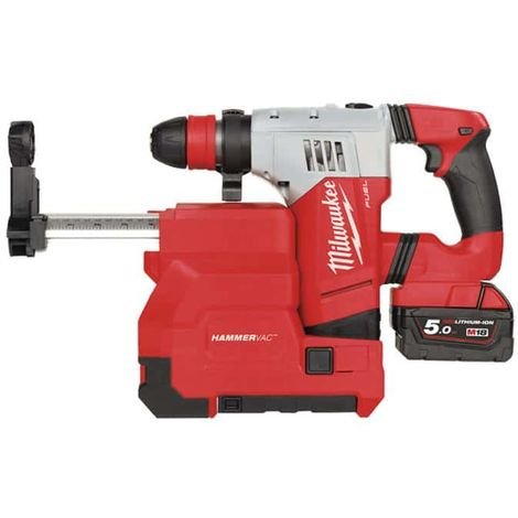 MILWAUKEE SDS-Plus FUEL drill M18 CHPXDE-502C with suction system - 2 batteries 18V 5.0Ah - 1 quick charger M12-18FC 493