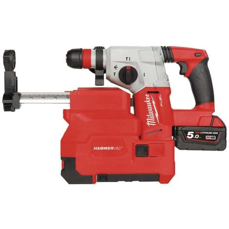 MILWAUKEE SDS-Plus FUEL drill M18 CHXDE-502C with suction system - 2 batteries 18V 5.0Ah - 1 quick charger M12-18FC 4933