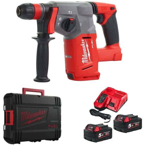 MILWAUKEE SDS-Plus Puncher FUEL M18 CHX-502X - 2 batteries 18V 5.0Ah - 1 quick charger M12-18FC 4933451381