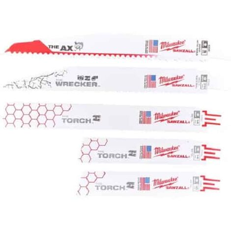 MILWAUKEE Set 5 lames universelles de scies sabres SAWZALL - 49222205
