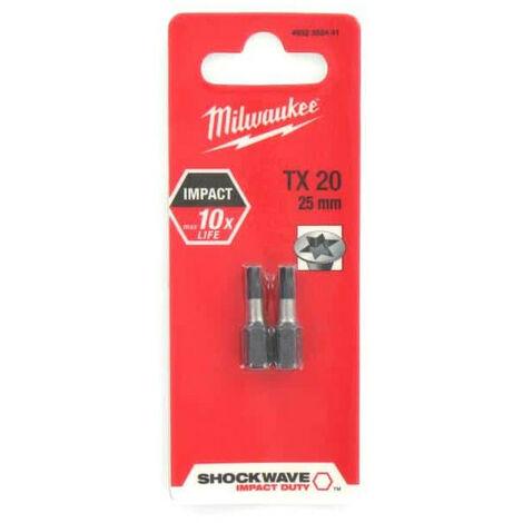 Milwaukee Shockwave Impact Bit PZ x 25mm Pack 2