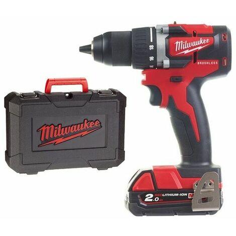 Milwaukee - Taladro-atornillador compacto BrushLess 18 V Li-Ion 2.0 Ah 13 mm 60 Nm con maletín - M18 CBLDD-202C