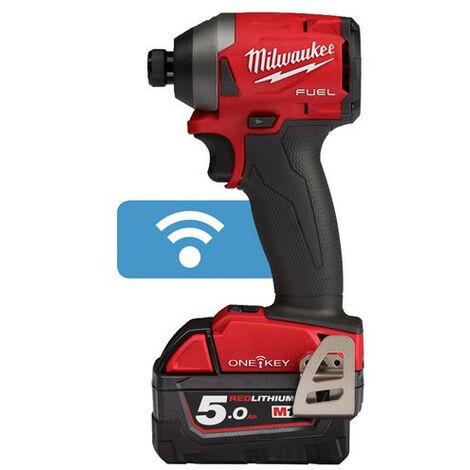 Milwaukee - Visseuse à chocs 1/4 Hex. 18V 5Ah Li-Ion outil connecté Bluetooth - M18 ONEID2-502X