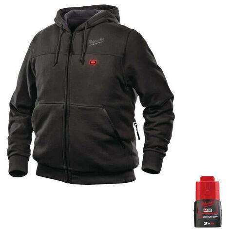 Milwaukee Warming Sweatshirt Black M12 HHBL3-0 Size L 4933464348 - Battery M12 12V 3.0Ah