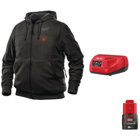 Milwaukee Warming Sweatshirt Black M12 HHBL3-0 Size XL 4933464349 - 12V M12 Battery Charger C12 C - 12V 3.0Ah M12 Batter