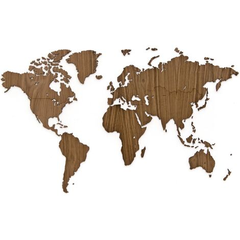 MiMi Innovations Wooden World Map Wall Decoration Exclusive Walnut 130x78 cm