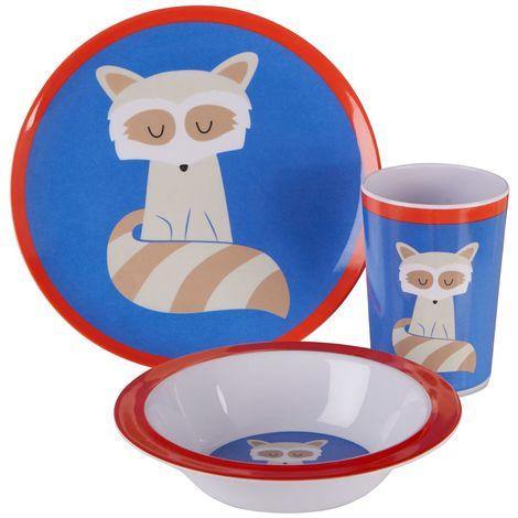 Mimo Kids Dinner Set, Ralph Raccoon, 3 Piece / Melamine