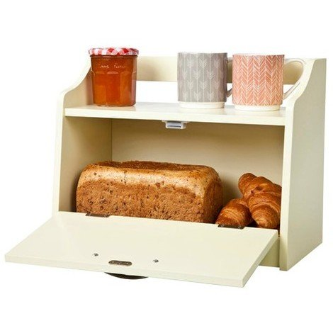 Minack Bread Bin // Buttermilk Wooden Freestanding Worktop Storage with Shelf