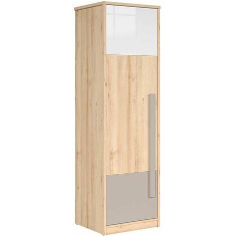 MINAJI - Armoire 1 porte style scandinave chambre d'enfant/d'ado - 198.5x60x52.5 - Barre - Dressing | Chêne - Chêne