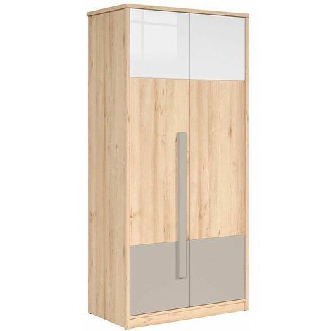 MINAJI - Armoire 2 portes style scandinave chambre d'enfant/d'ado - 198.5x95x52.5 - Barre+tablettes - Dressing | Chêne - Chêne