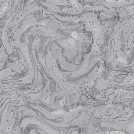 Minerals Azurite grey marble extra shiny Sparkle Luxury Wallpaper, Easy to Hang (Grey)