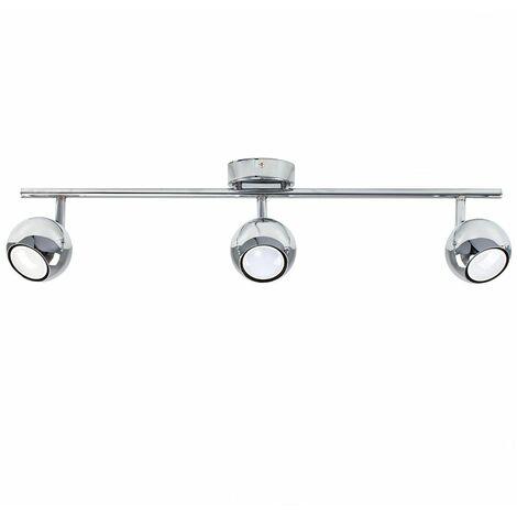 Mini 3 Way Adjustable Eyeball Chrome Straight Bar Spotlight + 3 x Gu10 Cool White LED Bulbs
