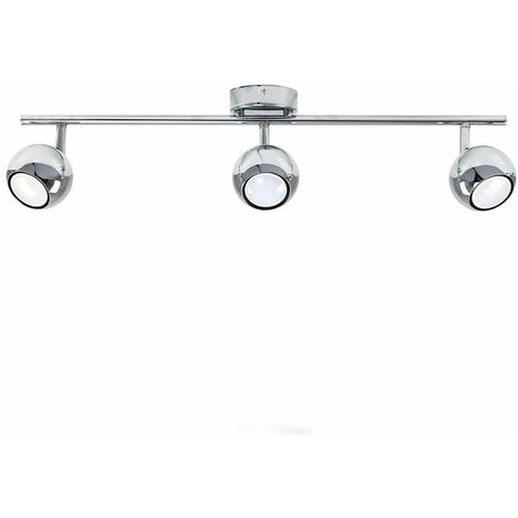 Mini 3 Way Adjustable Eyeball Chrome Straight Bar Spotlight + 3 x Gu10 Warm White LED Bulbs