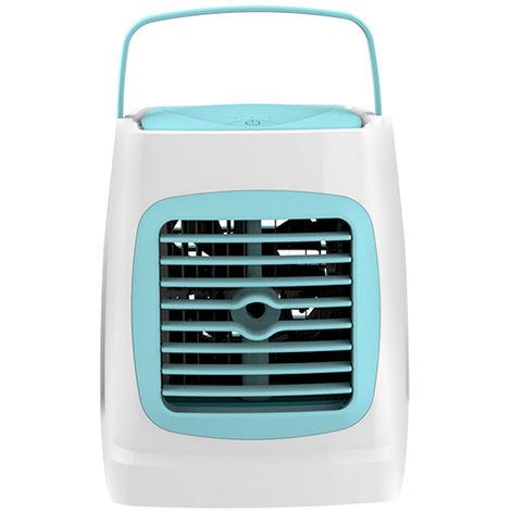 Mini aire del acondicionador de aire con funcion de humidificacion personal portatil USB refrigerador pequeno, azul