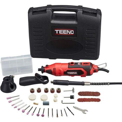 Mini Amoladora eléctrica TEENO Profesional Kit de herramientas rotatorias multifunción con 80 accesorios y Velocidad variable
