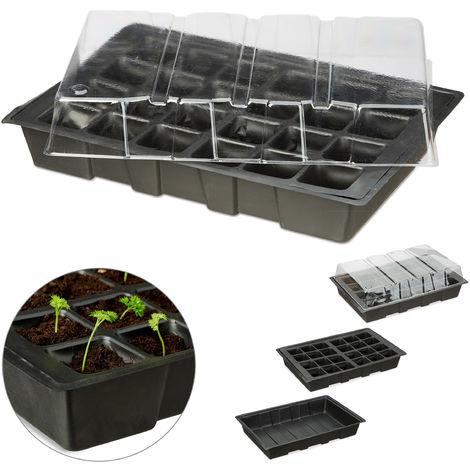 Mini Anzuchthaus mit 24 Fächern, transparente Abdeckhaube, Topfplatte mit Löchern, Wanne, Kunststoff, schwarz