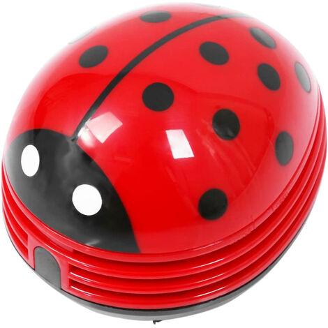 Mini aspirateur de poussière de bureau portable sans fil de table aspirateur de poussière de bureau mignon Beetle Ladybug à piles, rouge
