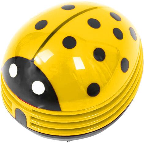 Mini aspirateur de poussière de bureau portable sans fil de table aspirateur de poussière de bureau mignon coccinelle coccinelle à piles, jaune