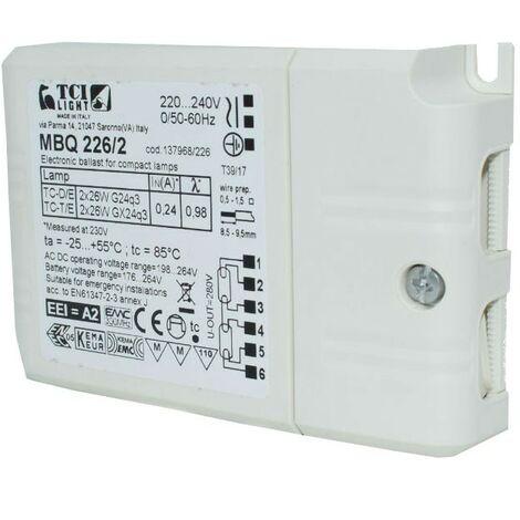 Mini balastos electrónicos TCI MBQ 226/2 2X26W 137968/226