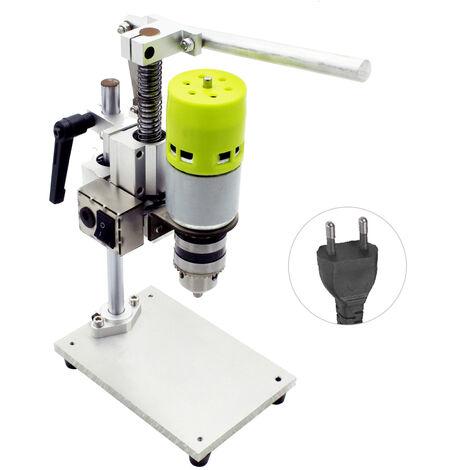 Mini banco de prensa de taladro de 7 velocidades, taladro de banco electrico, taladro de banco pequeno de aluminio puro DIY de alta precision