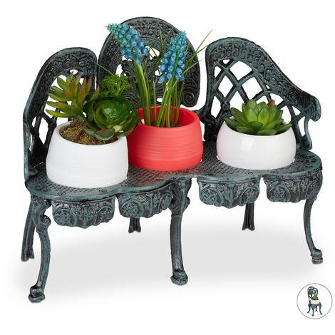 Mini Blumenbank, Gusseisen, antik, Blumenständer für 3 Topfpflanzen, vintage, Garten & Balkon Deko, dunkelgrün
