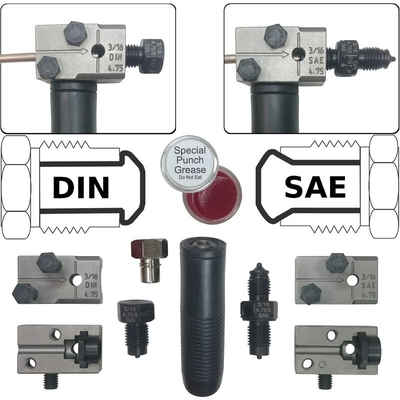 "BGS Bördelgerät Bördelung Bremsleitung Bördel Werkzeug  4,75 mm  3//16/"" DIN SAE"