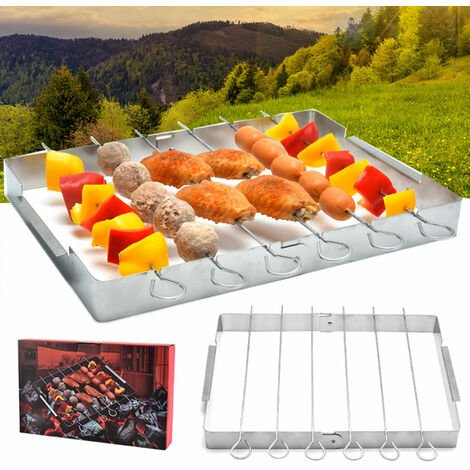 """main image of """"Mini Camping Grill Stainless Steel Charcoal Grill BBQ Grills with Barbecue Sticks Folding Campfire Grill Portable Barbecue Grill for Outdoor Camping Cooking Hiking Party,model:Silver"""""""