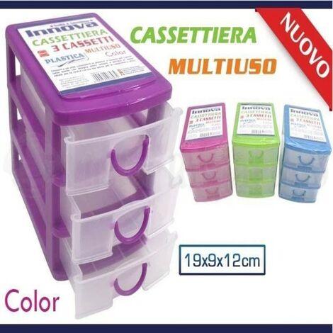 Cassettiere In Plastica Per Magazzino.Mini Cassettiera 3 Cassetti Colorata Multiuso Plastica Minuteria Cotone