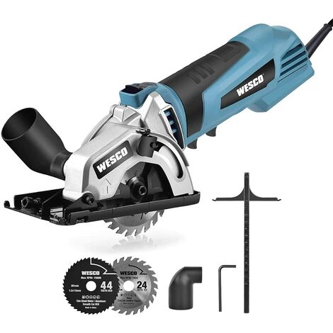 """main image of """"Mini Circular Saw, WESCO 500W 5100 RPM Compact Circular Saw with 2 Saw Blades Cutting Depth 27mm for Wood, Soft Metal, Tile and Plastic Cuts/WS3453"""""""