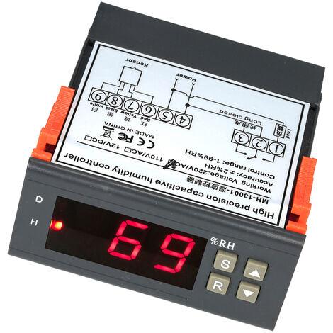 Mini controlador digital de control de humedad del aire Medicion, rango 1% ~ 99%, con sensor