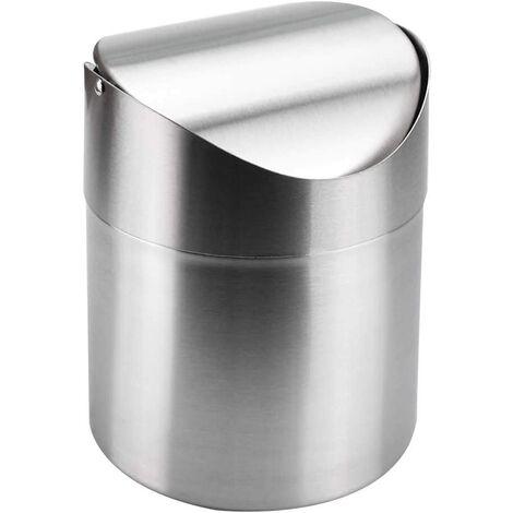 Mini Corbeilles De Bureau en Acier Poubelle De Table Mini Poubelle pour Couvercle avec Couvercle pour Bureau À Domicile (12 * 12 * 16.5CM, 1.5L)