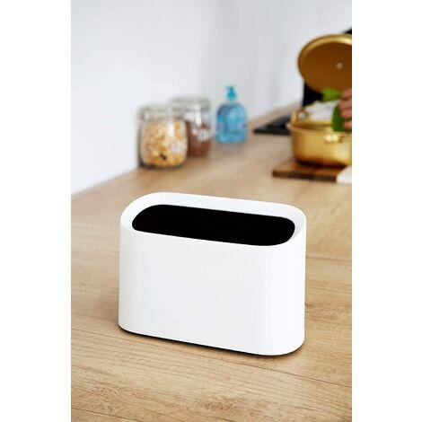 "main image of ""Mini Countertop Trash Can, Trash Can, Makeup Rack, Bathroom Vanity, Kitchen, Office, Desk (White)"""