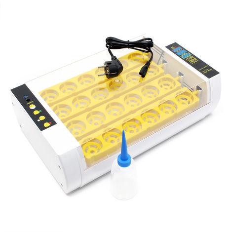 Mini-couveuse 24 œufs, système de retournement, température et humidité ; alarme d'humidité