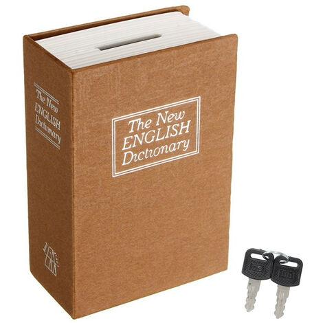 Mini dictionnaire de sécurité à la maison Livre Secret Safe Storage Key Lock Box For Money Cash +2 Keys jaune Jaune S