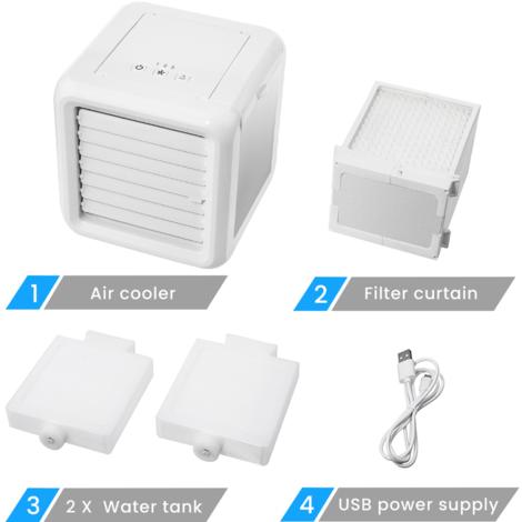 Mini dispositivo di raffreddamento portatile 3 in 1 Ventilatore USB regolabile 7 colori LED 2 lavabi LAVENTE