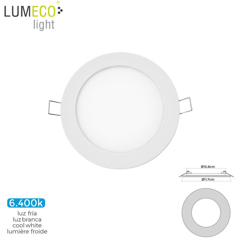 Mini Downlight Led Lumeco 6W 320 Lumens Redondo 12Cm 6.400K Marco Blanco - NEOFERR..