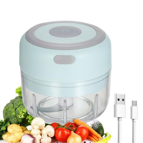 Mini electrico del interruptor del ajo Alimentos maquina de cortar portatil Procesador ajo amoladora de alimentos Blender para la pimienta de chile vegetal Nueces Carne 100ML USB recargable, Azul