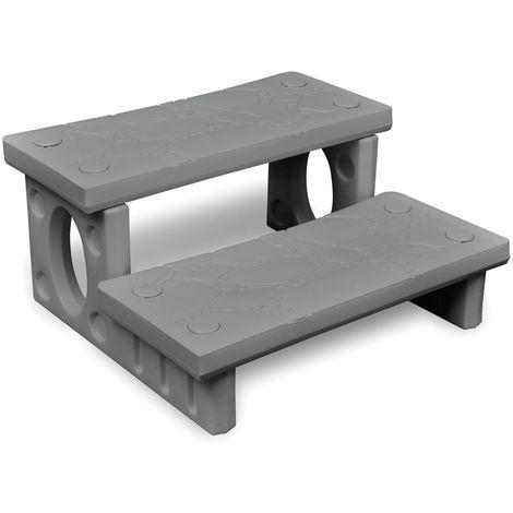 Mini-escalera gris para el spa