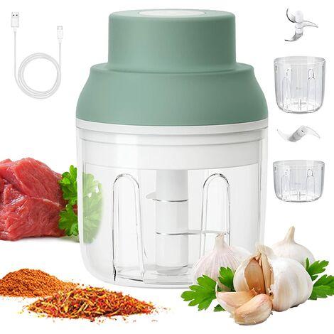 Mini hachoir à ail électrique, trancheuse et coupe-légumes avec double tasse à mélanger et processeur pour noix/oignons/viande/salade, 250 ml/100 ml, étanche, sans BPA, vert