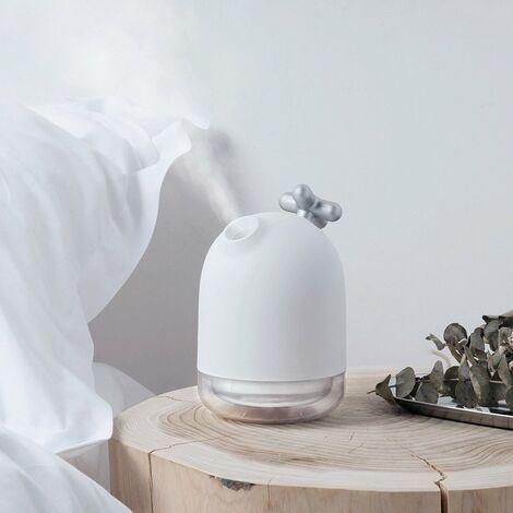 Mini Humidificateur D'air, USB Portable Silencieux Humidificateur D'air Maison, avec Veilleuse, Chambre, Bureau, Voiture (Argent)