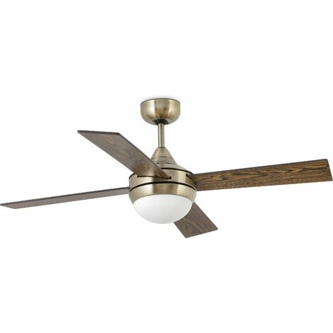 Mini Icaria 2-Light Aged Gold Ceiling Fan with Light