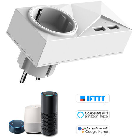 Mini Intelligent Wifi Interfaces Doubles Douille Port De Charge Usb Ac + Double, Un Blanc