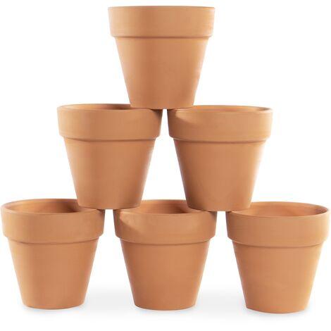 Mini macetas de terracota - Juego de 6 | Plantas de maceta de barro | Jardinera pequeña de terracota para hierbas | Pukkr
