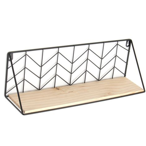 MiNi Metal Wall Shelf Wooden Stand Decoration Home Office Sasicare