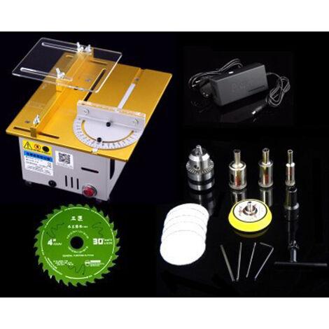 Mini Multifonctions Scie A Table Electrique De Bureau Scies Petit Menage Bricolage Coupe De Machines-Outils Du Bois Lathe, Or